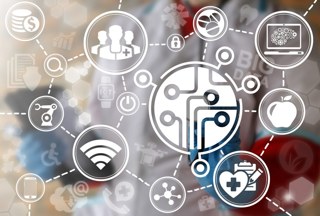Medicine microchip cpu microcircuit computing iot integration modernization internet concept. Processor health care automation chip semiconductor medical future electronic revolution robot technology