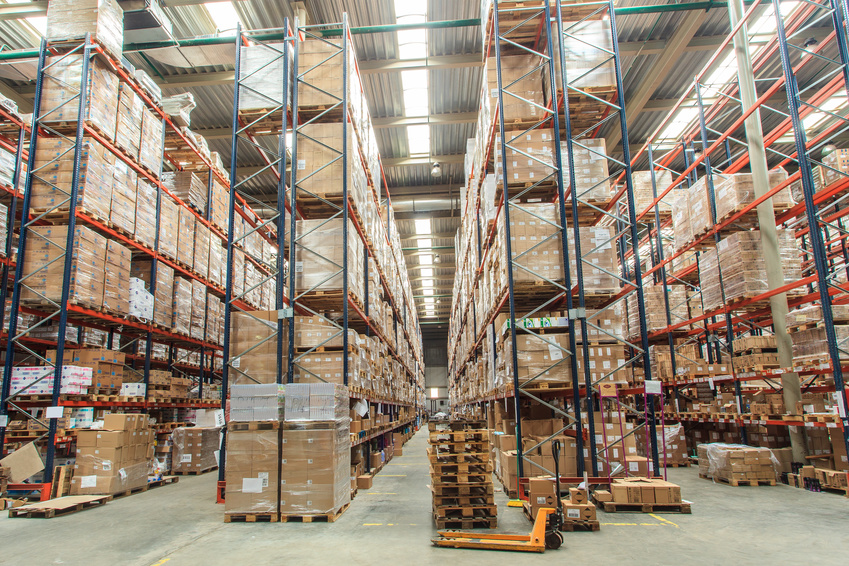 warehouse shelves with goods